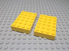 Lego 2 gelbe dicke Bauplatten 4x6  2356  Set 1577 3438 4134 4145 4146 6426