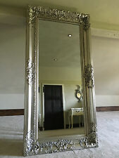 SILVER LEAF ORNATE LARGE FRENCH SWEPT WOOD DRESS WALL LEANER MIRROR 6FT x 3FT