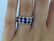 $4k BH Effy 14K White Gold Blue Ceylon Oval Sapphire Diamond Cocktail Ring Band