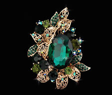 Dazzling Large Emerald Green Rhinestone Crystal 14k Gold Brooch Pin Oval Stone