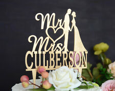 Personalized Wedding Cake Topper Made of Wood and Painted in Metallic Gold #047