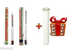 2 pcs New COMBINED ALCOHOL HYDROMETER WINE LIQUOR ( SUGAR ) BEER + FREE TUBE
