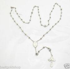 """28"""" 4mm Anti Tarnish Round Bead Rosary Chain Necklace Real 925 Sterling Silver"""