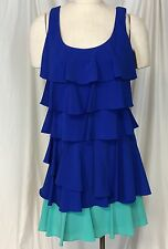 Calvin Klein  Colorblock Tiered Dress Blue Green Size 6