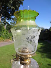 ANTIQUE  VICTORIAN YELLOW ACID ETCHED TULIP DUPLEX OIL LAMP SHADE
