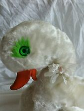 Vintage Swan Foam Beak Green Eyes  Foam Filled Plush, Daisy on neck, wear