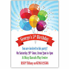 Personalised Birthday Party Invitations Boy Girl Balloons Banner Multi Colour