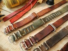Handmade Superior Vintage Nato Leather Strap 20mm for Omega Speedmaster Pre Moon