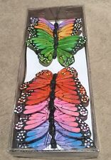 Box Of 12 Multi Coloured Real Feather Butterflies 6 Colours Weddings Crafts 10cm
