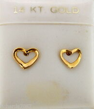 Earrings 14k yellow gold (Solid, Unplated) FLOATING HEARTS pierced stud