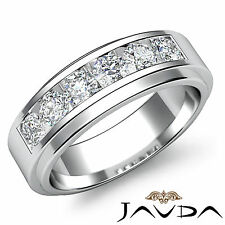 Channel Sets Diamond Mens Wedding Band 18k White Gold Beautiful 8.5mm Ring 0.9Ct