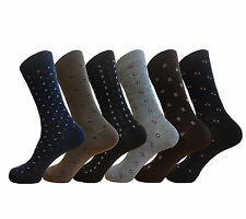 6 Pair MEN WOMEN DRESS SOCKS MIX PATTERN SIZE 9-11 COTTON SOCKS
