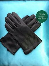 Men Genuine Leather Gloves Itouch Function Wool Lined Incredibly Soft Black S-L