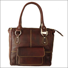 Women's Handbag Genuine Leather Tote Shoulder Bag Purse  Large 16 Inch Brown