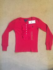 Ralph Lauren Girls Red Ruffle Top Age 7 Years New With Tags