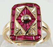 Majestic 9k 9ct oro ART DECO INS Indiano Rubino & Diamante Anello Scudo libero Ridimensiona