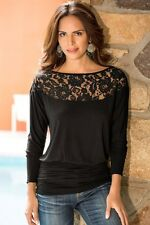Sexy Fashion Casual Women Tops Lady Tank Long Sleeve T-Shirt Casual Blouse Lace