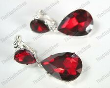 CLIP ON 4cm BIG CRYSTAL DROPS EARRINGS ruby red SPARKLY silver plated GLASS