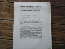 LORRAINE - TRAVERSEE BAR LE DUC A TOUL CHEMIN DE FER PARIS STRASBOURG 1846 LIGNY
