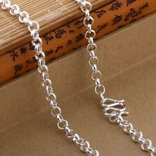 Authentic 990 Sterling Silver 3mm Rolo Link Chain Necklace 60cm Length
