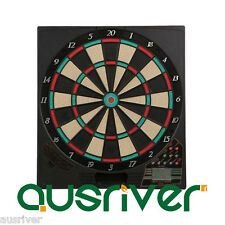 "New Large 16"" Electronic Plastic Dart Board with 10 Darts LED Scoring Portreath2"
