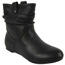 WOMENS PIXIE ROUCHED FLAT PULL ON LOW HEEL CASUAL LADIES SLOUCH ANKLE BOOTS SIZE