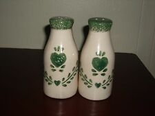 Green Country Heart Milk Bottle Salt & Pepper Shaker Set