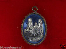 † SCARCE MERCURY ANTIQUE BLUE ENAMELED ST ANNE DE BEAUPRE GLASS BUBBLE PENDANT †