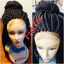 "Fully hand braided lace front box braid wig color 1B 28"" with Baby hair(#colors)"
