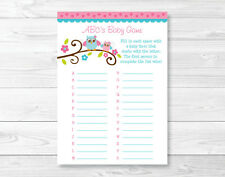 Pink Woodland Owl Baby Shower Baby ABCs Game Printable