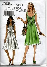 Vogue Sewing Pattern Dress 8380 Very Easy Misses Summer Size DD 12-14-16-18 NEW