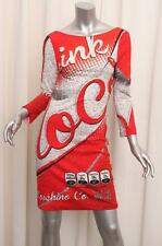 MOSCHINO COUTURE JEREMY SCOTT $810 Red+White Cola Soda Low Back Dress 40/6 S NEW