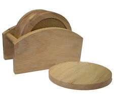 6 PIECE COASTER SET WITH STAND HEVEA WOOD AND CORK, MATS FOR CUPS AND MUGS