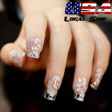 White Diamond Flower Water Transfer Nail Stickers Decals Art Tips Decoration USA
