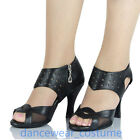 Ladies Leather Party Ballroom Latin Tango Jazz Salsa Dance Shoes Heels US5-9 New