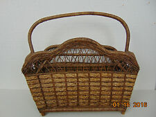 Antique Vintage Large Wicker Basket Tote Magazine Rack Carrier Footed