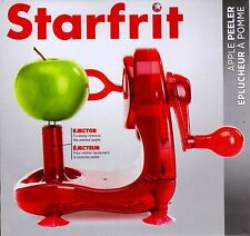 New Genuine Starfrit Apple Peeler Translucent Candy Apple RED with Ejector NIB!