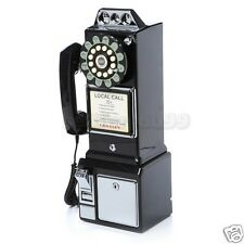Retro Wall Telephone Classic 1950's Old Fashioned Payphone Black Vintage Phone