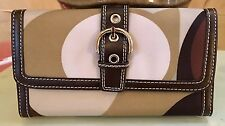 Women's Gorgeous Faux Leather Clutch Long Wallet Card Holder Purse Brown/Lime