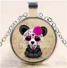 Sugar Skull Panda Aged Cabochon Glass Tibet Silver Chain Pendant Necklace