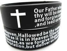 50 Silicone 20mm Our Father Lord's prayer cross wristband bracelets JEWELRY LOTS