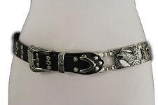 Women Black Leather Biker Rock Punk Fashion Belt Silver Metal American Eagle M L