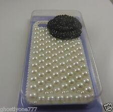 Fits&  for phone 4 / 4S faux pearl 3D black flower Bling case i phone 4 elegant
