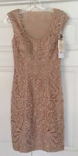 BRAND NEW SUE WONG  BEIGE EMBROIDERED LACE SHORT COCKTAIL EVENING DRESS 0