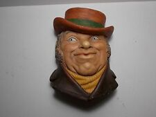 VINTAGE  BOSSONS CHALKWARE WALL PLAQUE MAN IN HAT