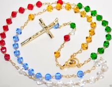 Missionary Rosary Necklace Glass Beads 6mm multi color Mission Rosarie Prayer