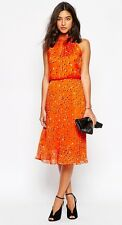 NewWT Karen Millen orange dot print pleated skirt dress DV186 UK 14 £180