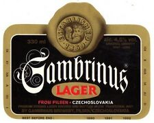 Czech Beer Label - Gambrinus Brewery - Chechoslovakia - Gambrinus Lager