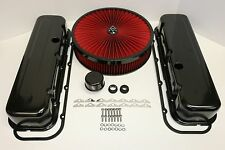 BBC BLACK ENGINE DRESS UP KIT TALL VALVE COVERS RED FLOW WASHABLE AIR CLEANER