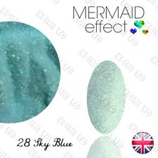 BLUE MERMAID EFFECT Glitter NAILS COLOURS ART POWDER GEL HYBRID Sky Blue 28
